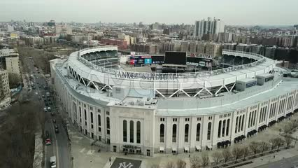 Yankee Stadium aerial view across front sign in The Bronx New York City in 4K and 1080 HD