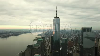 descending aerial of Freedom Tower moving downward in Manhattan in 4K and 1080 HD