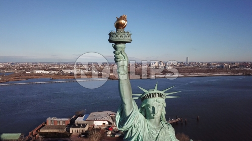 Statue of Liberty torch - close-up aerial in NYC