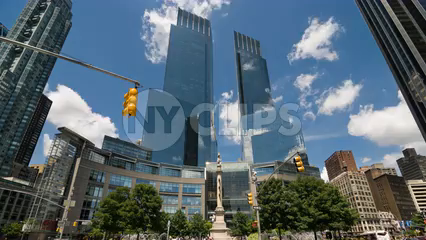 Columbus Circle traffic and Time Warner Towers - timelapse tilting down in Manhattan 4K and 1080 HD in NYC