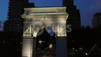 passing through Washington Square Park arch at night Manhattan New York City NYC