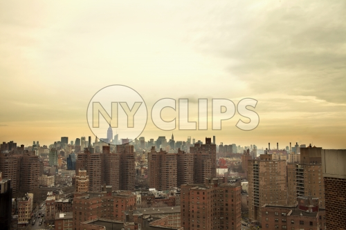 Manhattan cityscape from housing projects on Lower East Side of New York City NYC