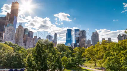 Manhattan skyscrapers tilting down to Central Park trees on sunny day - timelapse in 4K and 1080 HD in NYC