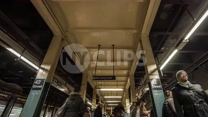 42nd Street subway platform timelapse tilting down in 4K