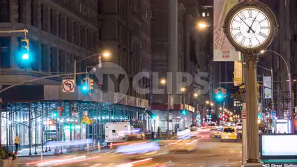traffic lights changing with fast moving cars in evening, timelapse of 5th Avenue clock in 4K and 1080 HD in NYC