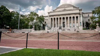 Columbia University college campus library steps - timelapse in 4K and 1080 HD in NYC
