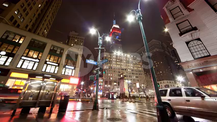 Empire State Building view from Herald Square on corner of Broadway and 35th st near 34th Street in Manhattan - 4k timelapse at night in NYC