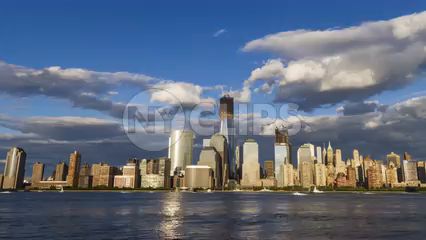 Freedom Tower in the Manhattan skyline from day to night - 4K timelapse in NYC