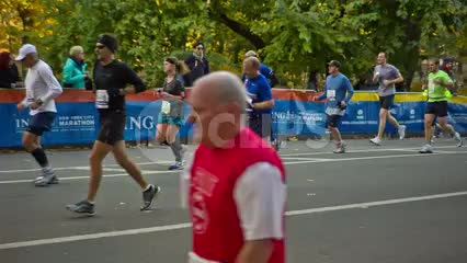 marathon runners completing last mile in Central Park NYC