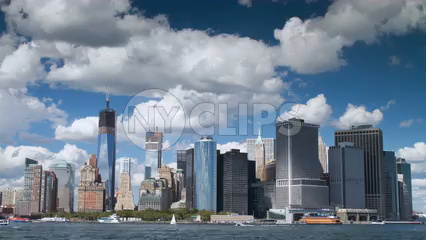 daytime timelapse of Downtown Manhattan skyline with Freedom Tower and skyscrapers - 4K in NYC