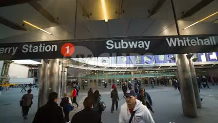Staten Island Ferry sign, people commuting from Manhattan subway in 1080 HD NYC