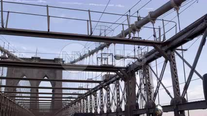 driver pov crossing Brooklyn Bridge - panning from yellow school bus