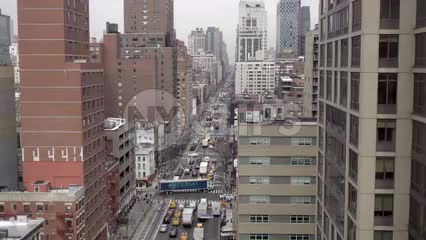aerial view Manhattan street with truck blocking traffic NYC