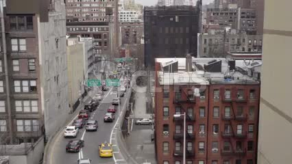 cars driving on ramp in east side of Manhattan passing over from moving view 1080 HD in NYC