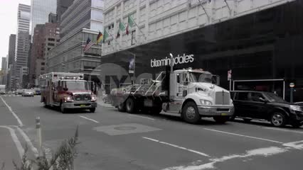 emergency FDNY fire truck ambulance siren sound driving on street with audio in 4K and 1080 HD in NYC
