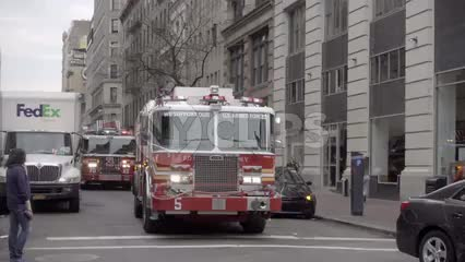 FDNY firetruck with siren rushing to emergency in slow motion 1080 HD in NYC