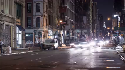 busy Broadway at night with Chrysler Building in SoHo Downtown Manhattan - 4k timelapse NYC
