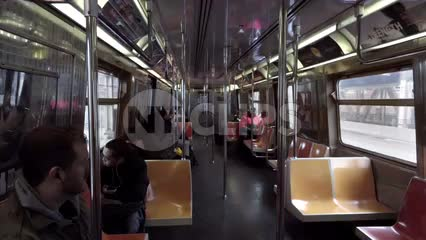 interior subway car - elevated B train riding outside across Manhattan Bridge in 1080 HD in NYC