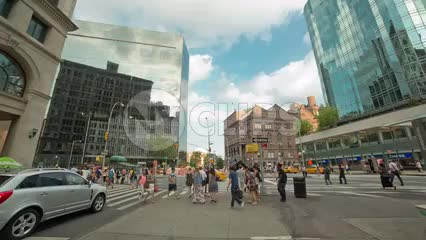 360 view through Cooper Square on Astor Place during day in NYC